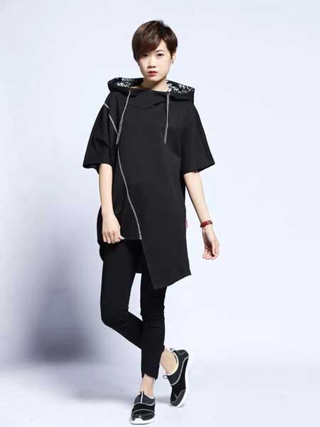 JZ secret女装品牌2019春夏新款中长款宽松显瘦黑色短袖t恤