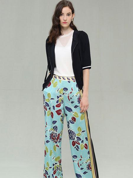 CARBAMMI卡邦尼女装品牌2019春夏新款洋气大码宽松减龄时尚百搭显瘦印花休闲裤