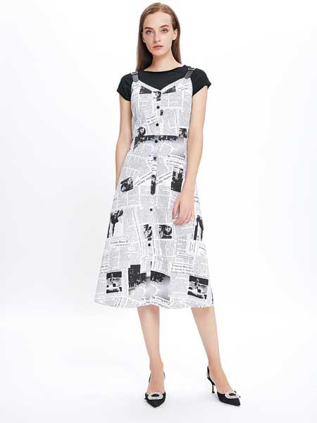JAOBOO 乔帛女装品牌2019春夏新款时尚宽松短袖T恤不规则印花裙子中长款吊带连衣裙