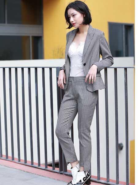 女衣号女装品牌2019春夏新款时尚洋气职业格子西装套装女气质