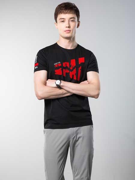袋鼠男装品牌2019春夏韩版时尚宽松百搭圆领印花短袖T恤