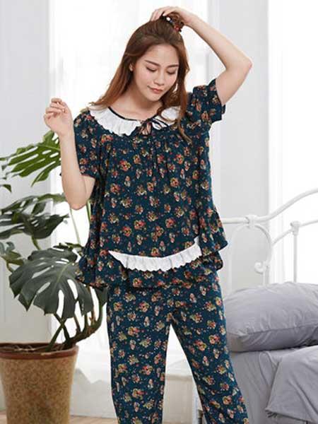 诺茵儿内衣品牌2019春夏新款睡衣女长袖两件套宽松可外穿家居服套装