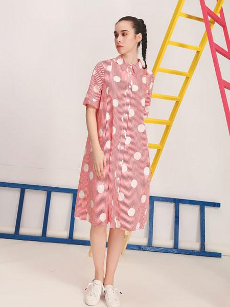 娅铂・周末女装品牌2019春夏新款粉色波点七分袖中长款衬衫裙