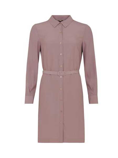 SOL-SOL休闲品牌2019春夏新款港味纯色灯笼长袖时尚宽松显瘦过膝中长衬衫裙