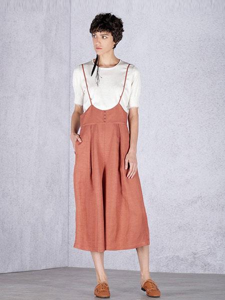 天纳吉儿女装品牌2019春夏新品亚麻混纺复古高腰背带裤阔腿裤