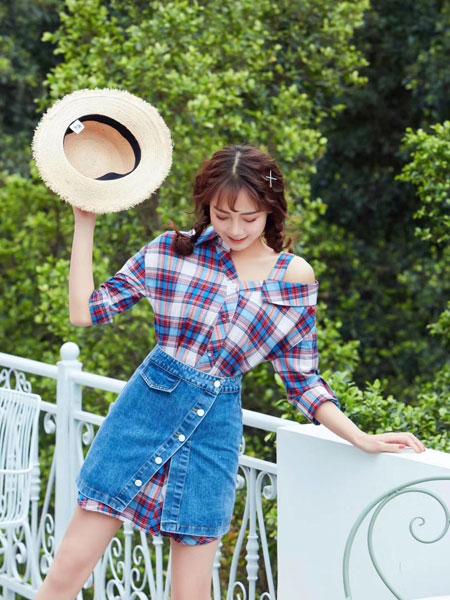 搜谷女装品牌2019春夏牛仔半身裙两件套洋气格子中长款衬衫