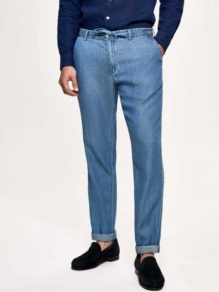 Christopher Raeburn克里斯托弗·里博男装品牌2019春夏新款时尚经典贴身棉质牛仔长裤