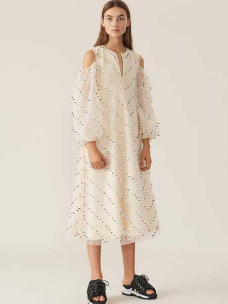 Elpizo女装品牌2019春夏新款时尚泡泡袖花朵漏肩拉链式连衣裙