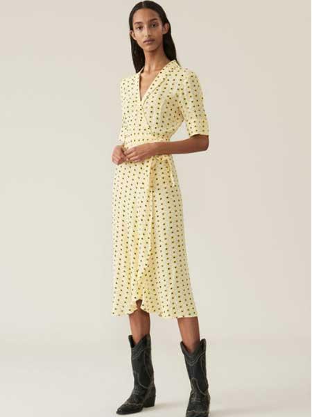 Elpizo女装品牌2019春夏新款复古裙高腰波点印花雪纺连衣裙