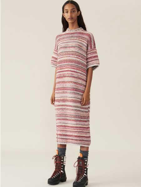 Elpizo女装品牌2019春夏新款时尚条纹短袖收腰显瘦连衣裙