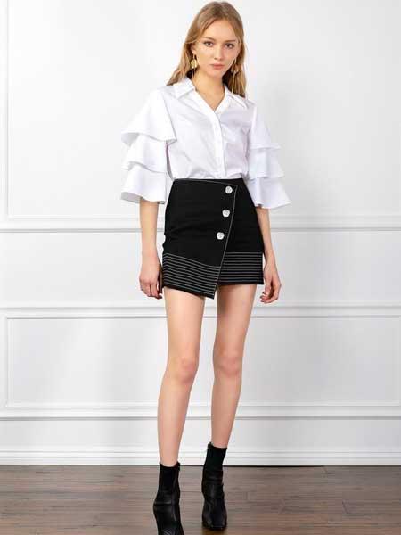 J.ING LIMITED女装品牌2019春夏新款v领时尚层叠袖型宽松衬衫