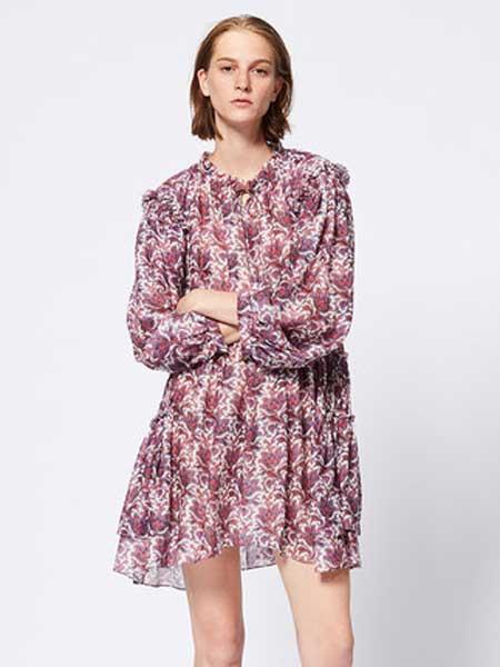 IsabelMarant女装品牌2019春夏新款时尚花边系带领长袖连衣裙