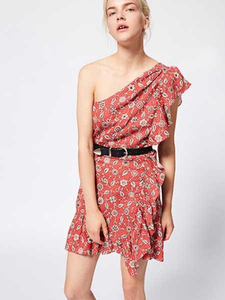 IsabelMarant女装品牌2019春夏新款时尚红色单肩印花迷你连衣裙