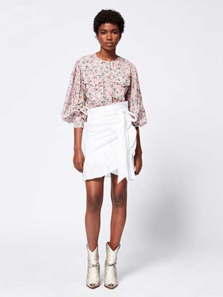 IsabelMarant女装品牌2019春夏新款时尚荷叶边系带高腰不规则短裙