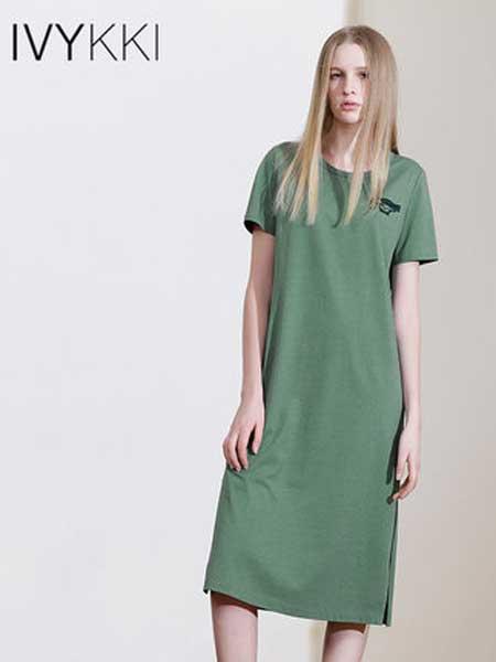 IVYKKI女装品牌2019春夏新款宽松大码休闲绿色连衣裙