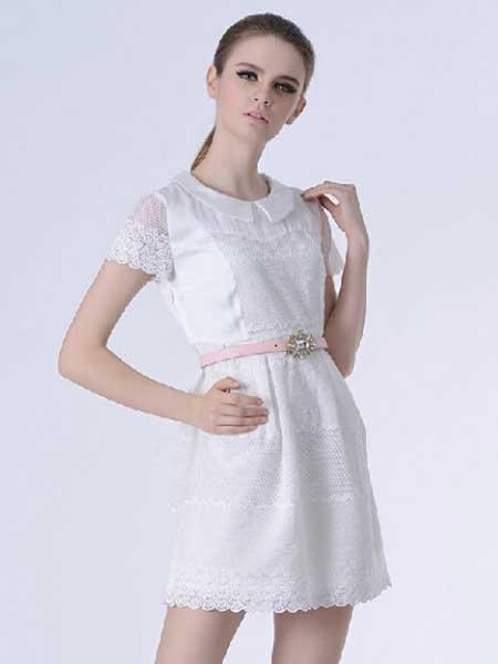千羽斐女装品牌新款潮温柔仙女收腰显瘦蕾丝连衣裙