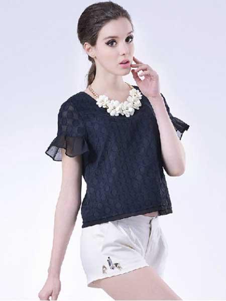 千羽斐女装品牌新款时尚优雅减龄修身显瘦蕾丝镂空花边圆领上衣