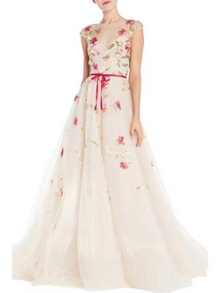 Felicity Brown费利西蒂・布朗女装品牌2019春夏新款时尚礼服无袖V领大摆蓬蓬裙