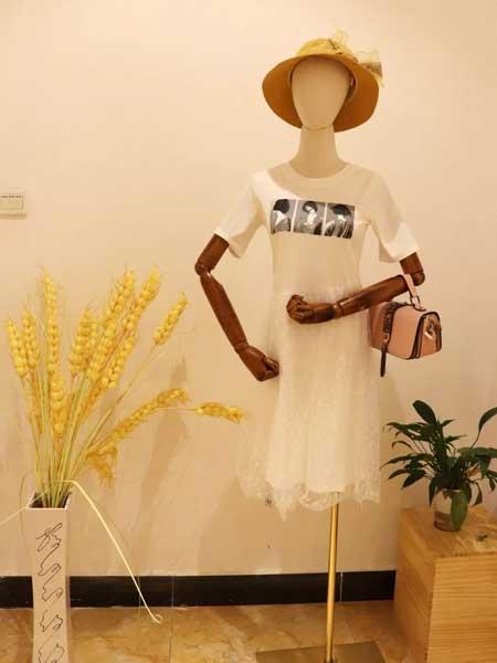 衣貌女装品牌2019春夏新款优雅淑女时尚气质短袖蕾丝拼接中长款连衣裙