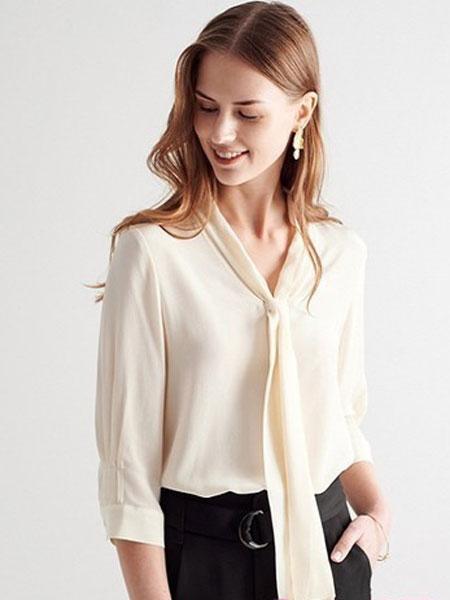 爱弗瑞女装品牌2019春夏新款气质设计感真丝衬衫