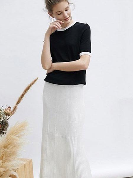 爱弗瑞女装品牌2019春夏蕾丝一字肩黑色百搭针织衫