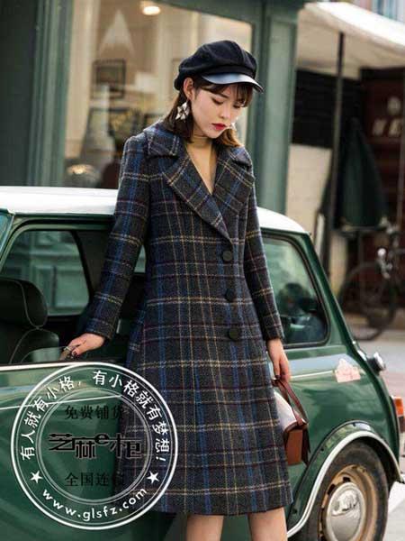 芝麻e柜(成都)女装品牌新款气质系带收腰显瘦中长款格子外套