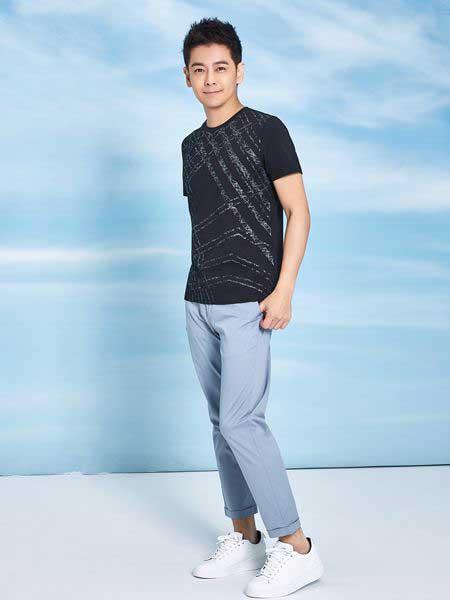 罗蒙ROMON男装品牌2019春夏新款时尚休闲印花T恤百搭宽松修身个性短袖上衣