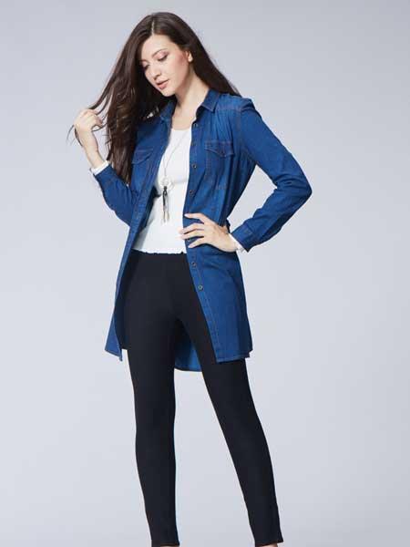 比利休闲品牌2019春夏新款洋气宽松减龄中长款时髦牛仔外套