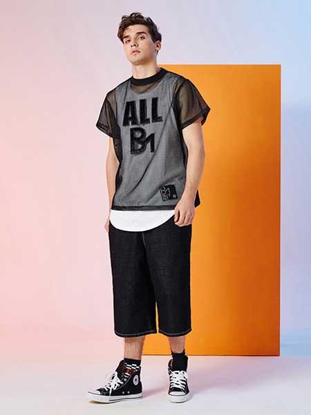 比利休闲品牌2019春夏新款镂空网状时尚个性潮流短袖T恤
