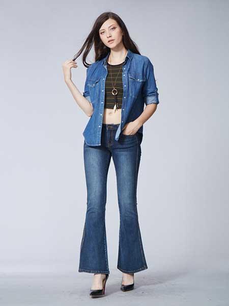 比利休闲品牌2019春夏新款胖MM韩版修身高腰弹力大码喇叭裤子显瘦微喇牛仔裤