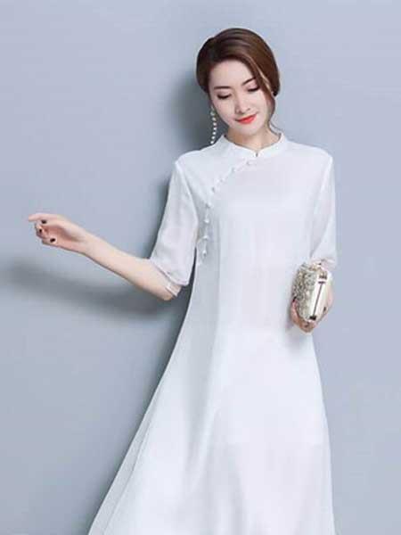 格蕾斯女装品牌2019春夏新款复古长裙中国风连衣裙