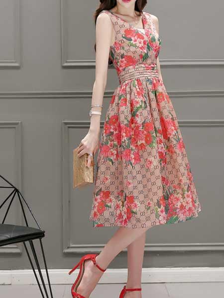 格蕾斯女装品牌2019春夏新款收腰V领显瘦大摆印花背心裙露背连衣裙