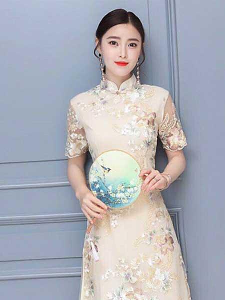 格蕾斯女装品牌2019春夏新款旗袍中长款蕾丝连衣裙修身显瘦连衣裙