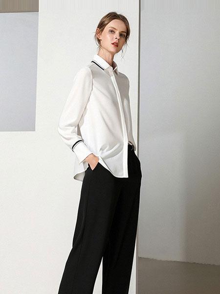 雾道女装品牌2019春夏新款单排扣拼接气质舒适休闲衬衫上衣