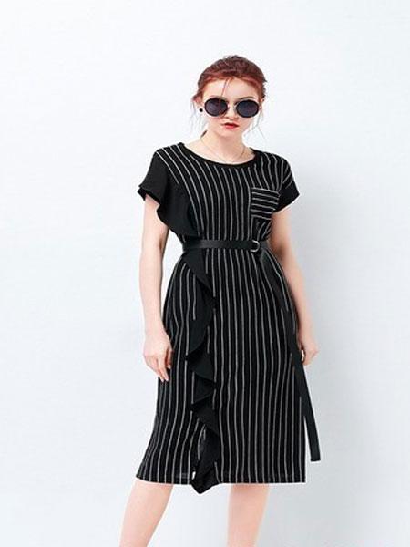 艾米女装品牌2019春夏条纹木耳边显瘦中长裙