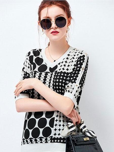 艾米女装品牌2019春夏新款短袖宽松v领上衣洋气小衫
