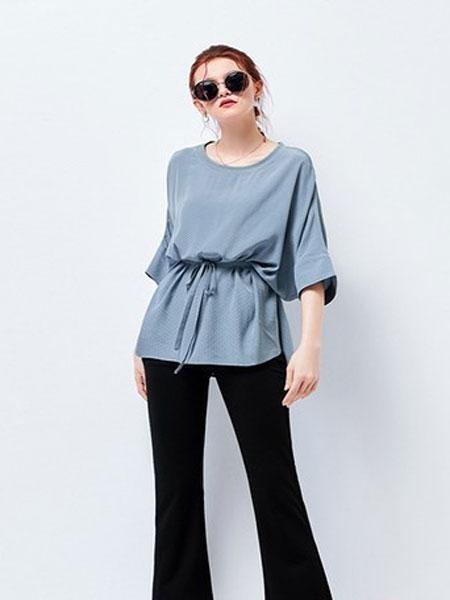 艾米女装品牌2019春夏新款韩版时尚宽松大码圆领抽绳系带显瘦T恤