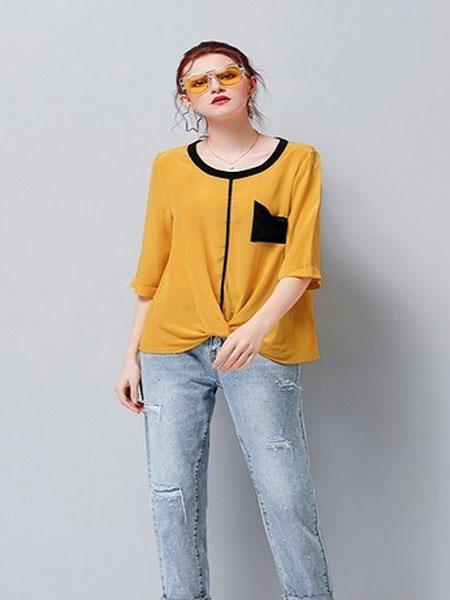 艾米女装品牌2019春夏新款 气质不规则撞色口袋捏褶真丝衫上衣
