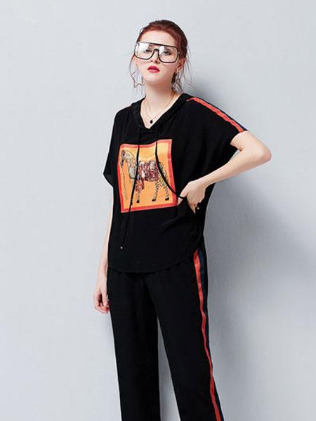 艾米女装品牌2019春夏帽印花钉珠上衣腰松紧系带阔腿裤套装