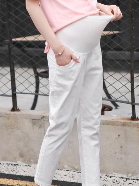 婧麒孕妇装品牌2019春夏孕妇裤白色孕妇裤新品