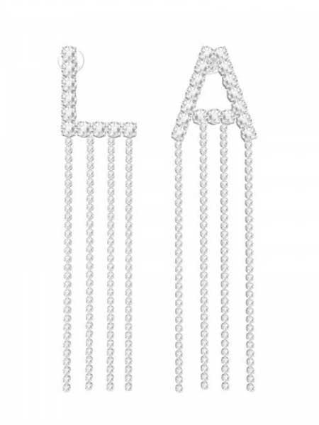 蜜西西比潮流饰品品牌2019春夏新款时尚L.A字母流苏气质耳环