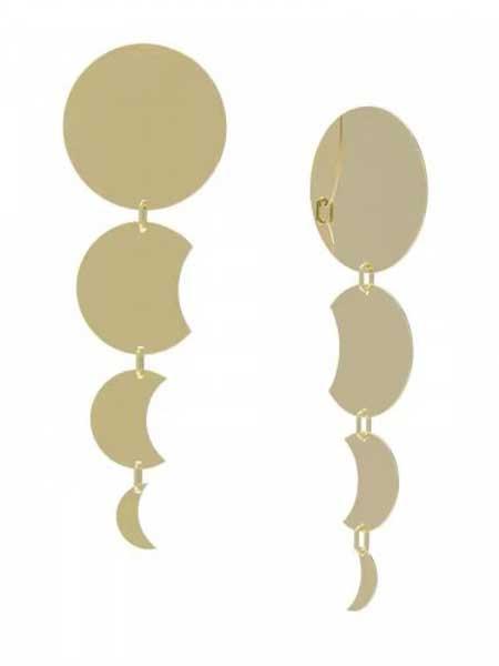蜜西西比潮流饰品品牌2019春夏新款时尚简约个性月亮渐变流苏耳环