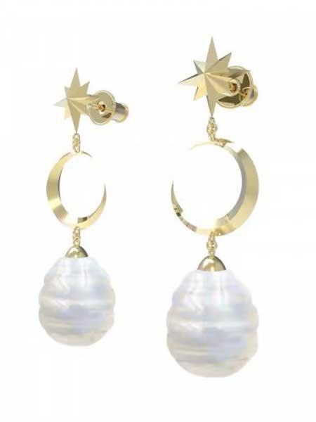 蜜西西比潮流饰品品牌2019春夏新款时尚个性金色星月吊坠珍珠耳环