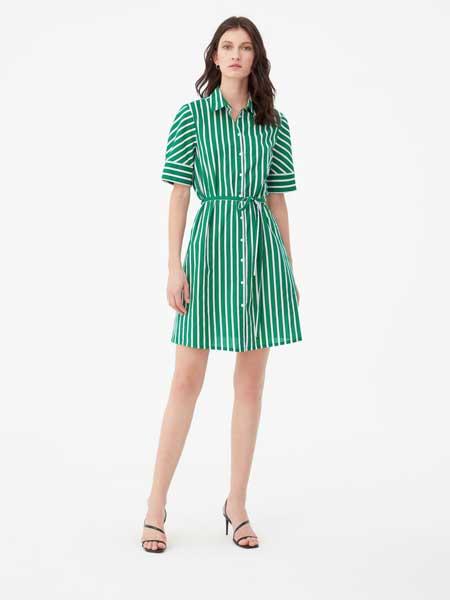 Enrico Coveri女装品牌2019春夏款时尚简约条纹腰间绑带淑女气质连衣裙