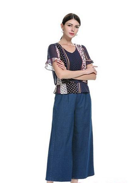 卡伊奴女装品牌2019春夏薄款假两件拼接显瘦天丝牛仔半裙