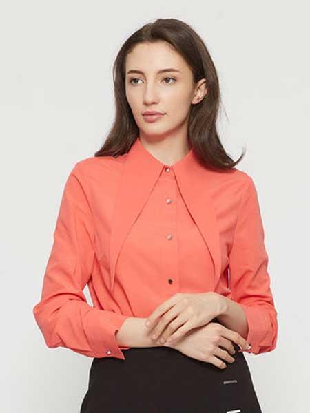 ETAM女装品牌2019春季新款韩范纯色领口系带不规则下摆长袖衬衫
