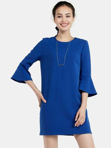 ETAM女装品牌2019春季新款潮流优雅时尚纯色连衣裙