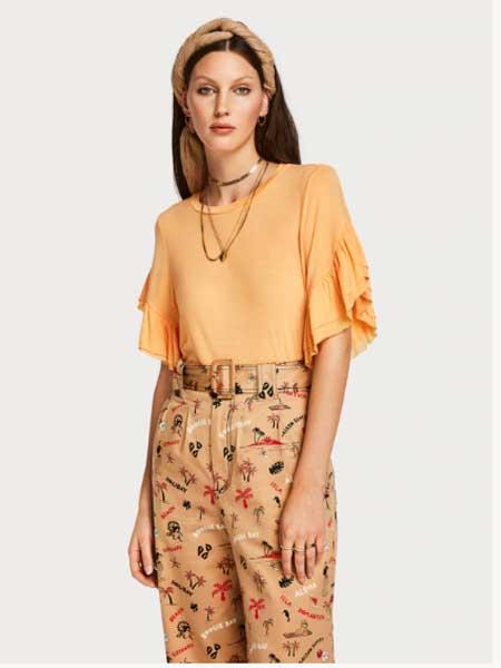 马修・威廉姆森女装品牌2019春夏新款减龄荷叶边袖时尚打底上衣