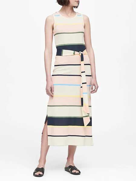 Each x Other女装品牌2019春夏新款复古条纹圆领短袖修身中长款连衣裙