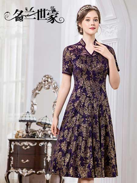名兰世家女装品牌2019春夏新款复古立领显瘦蕾丝连衣裙